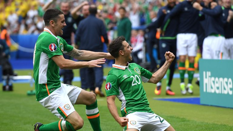 Robbie Brady congratulates Wes Hoolahan on scoring against Sweden