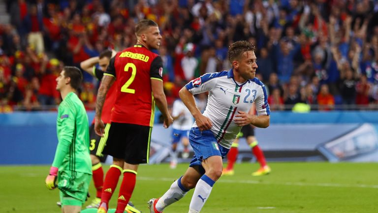 Emanuele Giaccherini of Italy celebrates