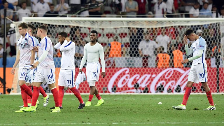 England trudge from the pitch after one of the worst defeats in their history