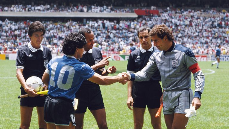 Maradona shakes hands with England captain Peter Shilton before kick-off