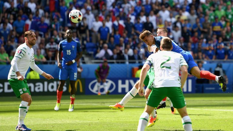 Antoine Griezmann heads in the equaliser during the second half