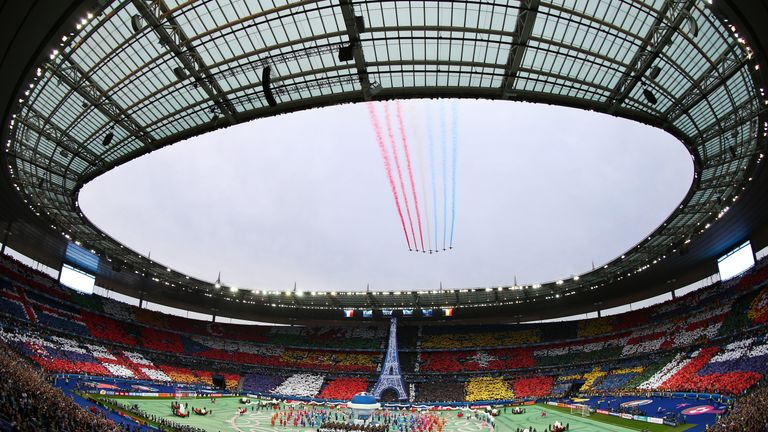 Planes fly overhead prior to kick-off at the Euro 2016 opener