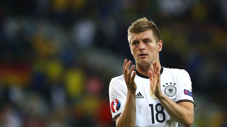 Toni Kroos of Germany applauds the supporters after his team's 2-0 win in the UEFA EURO 2016 Group C match