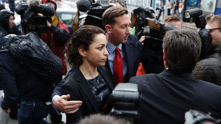 Former Chelsea club doctor Eva Carneiro (C) leaves the employment tribunal in Croydon