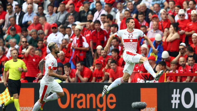Fabian Schar celebrates the goal which gave Switzerland victory over Albania in their first Euro 2016 match