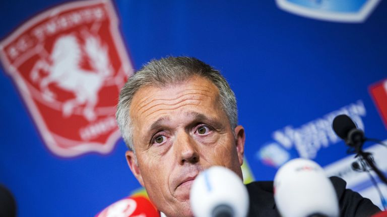 Chairman of FC Twente Onno Jacobs speaks during a press conference at the Grolsch Veste Stadium in Enschede, the Netherlands on May 18, 2016.    Dutch socc