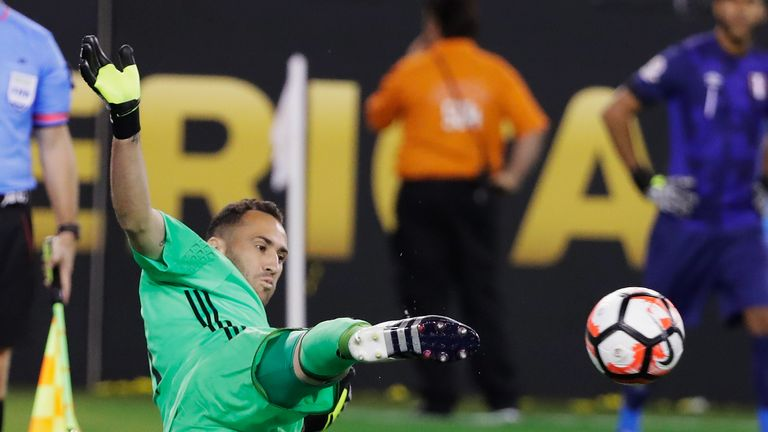 David Ospina of Colombia makes a save during the shootout against Peru