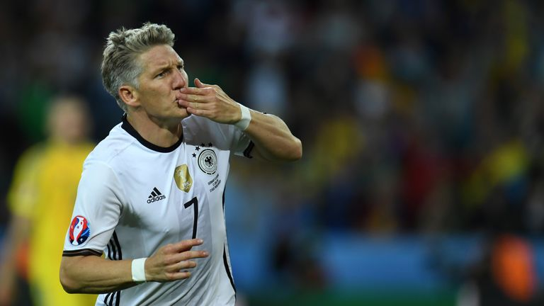 Bastian Schweinsteiger celebrates another goal for Germany