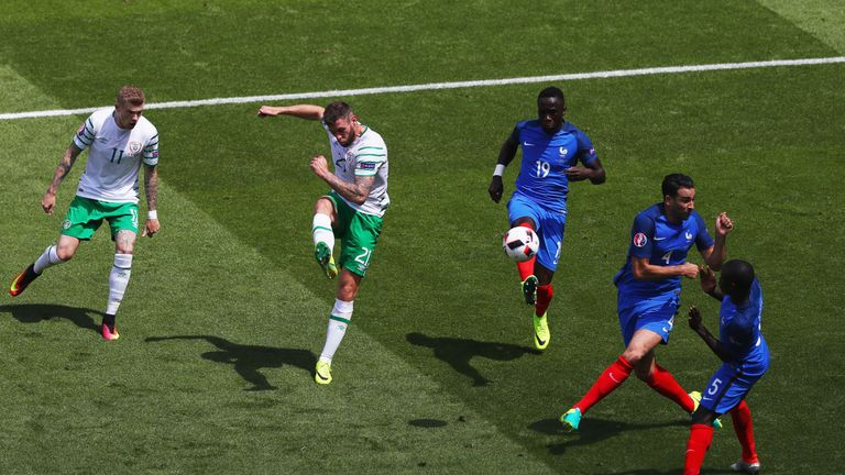 Daryl Murphy shoots on goal for Republic of Ireland against France