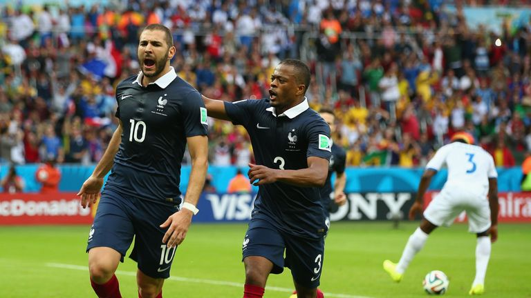 Karim Benzema and Patrice Evra in action together for France