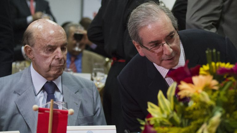 Rio de Janeiro state acting governor Francisco Dornelles (left) says the financial problems could cause the 'total collapse of public security'