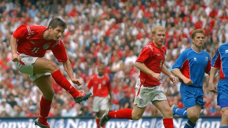 MANCHESTER, UNITED KINGDOM:  England's Frank Lampard scores 05 June 2004 to make it 1-0 against Iceland during today's FA Summer tournament match at the Ci