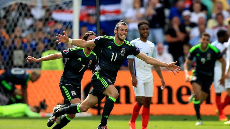 Wales' Gareth Bale celebrates scoring the opening goal during the UEFA Euro 2016, Group B match at the Stade Felix Bollaert-Delelis, Lens.
