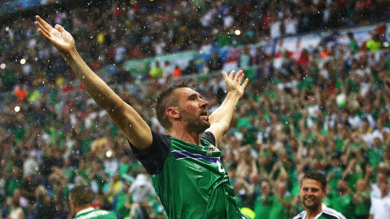 Gareth McAuley of Northern Ireland celebrates