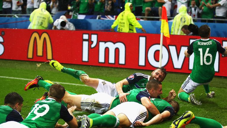 Northern Ireland players celebrate their first goal by Gareth McAuley