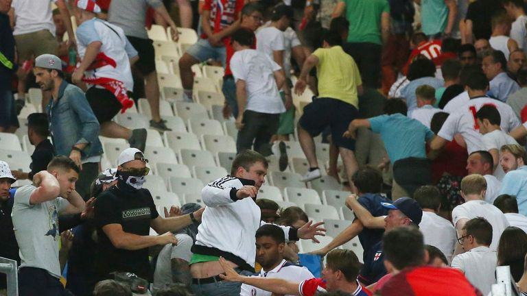 Fights between Russian and England fans after the match in Marseille