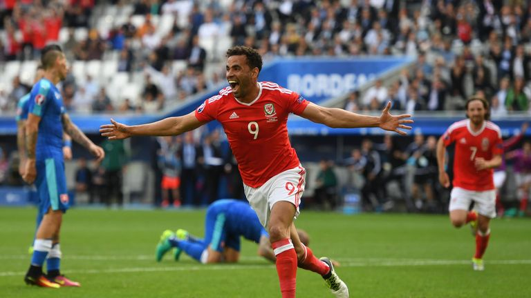 Hal Robson-Kanu of Wales celebrates scoring his team's second goal