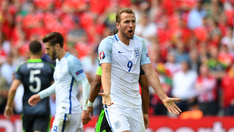 Harry Kane of England reacts