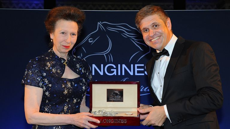 HRH Princess Anne, The Princess Royal is awarded the Longines Ladies Award by Juan-Carlos Capelli, VP, at the National History Museum