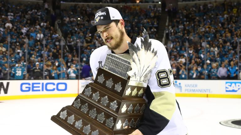 Crosby celebrates being awarded the Conn Smythe trophy as the MVP of the play-offs