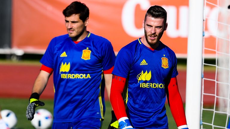 Iker Casillas and David de Gea of Spain look on during a training session