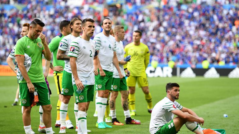 Dejected Republic of Ireland players including Seamus Coleman and Shane Long