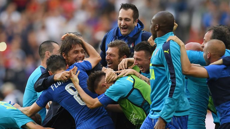 Conte said hard work was behind Italy's 2-0 win over Spain