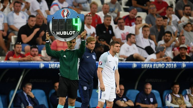 James Milner comes on for England against Russia