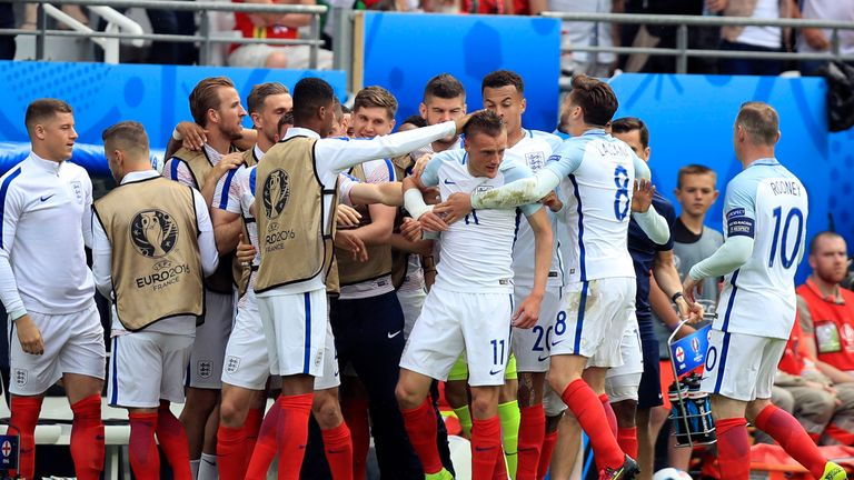 England's Jamie Vardy celebrates with team mates after scoring against Wales
