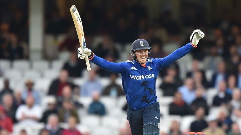 England's Jason Roy celebrates reaching his second century in the series at The Oval