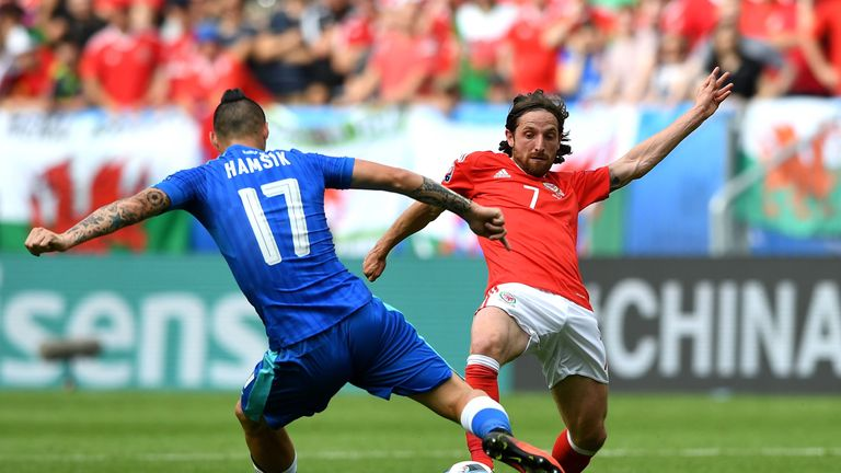 BORDEAUX, FRANCE - JUNE 11: Marek Hamsik of Slovakia and Joe Allen of Wales compete for the ball during the UEFA EURO 2016 Group B match between Wales and