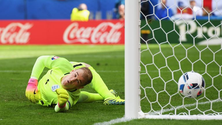 Joe Hart of England watches the ball as Gareth Bale of Wales scores his team's first goal during the UEFA EURO 2016 Group B match