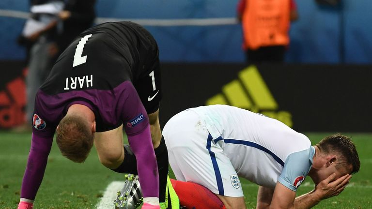 England players react to the final whistle against Iceland