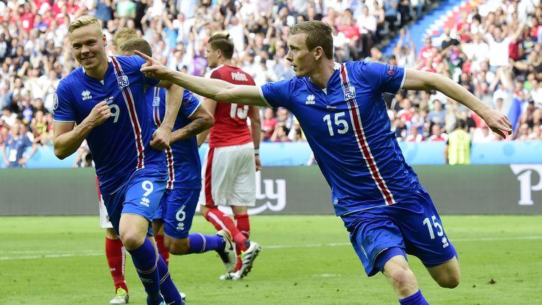 Iceland's Jon Dadi Bodvarsson celebrates after scoring