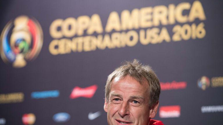 US national team coach Juergen Klinsmann speaks at a press conference in Philadelphia