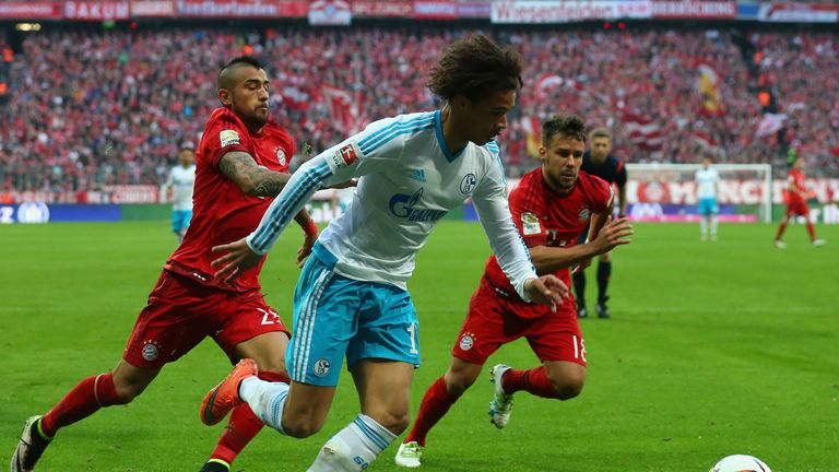 Leroy Sane in action for Schalke against Bayern Munich