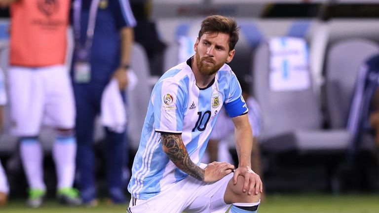 Lionel Messi of Argentina reacts