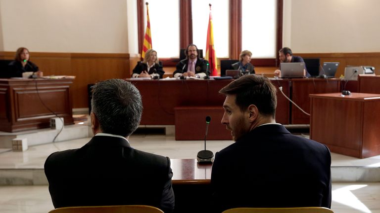 Lionel Messi (R) of FC Barcelona and his father Jorge Horacio Messi seen inside the court during the third day of their tax fraud trial
