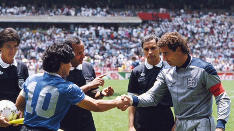 Diego Maradona shakes hands with Peter Shilton at the start of the match