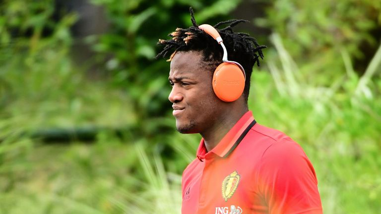Belgium forward Michy Batshuayi arrives to take part in a training session during Euro 2016 at Le Haillan, France