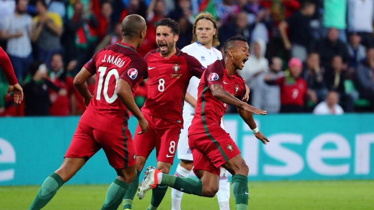 Nani celebrates his goal during the UEFA EURO 2016 Group F match between Portugal and Iceland at Stade Geoffroy-Guichard
