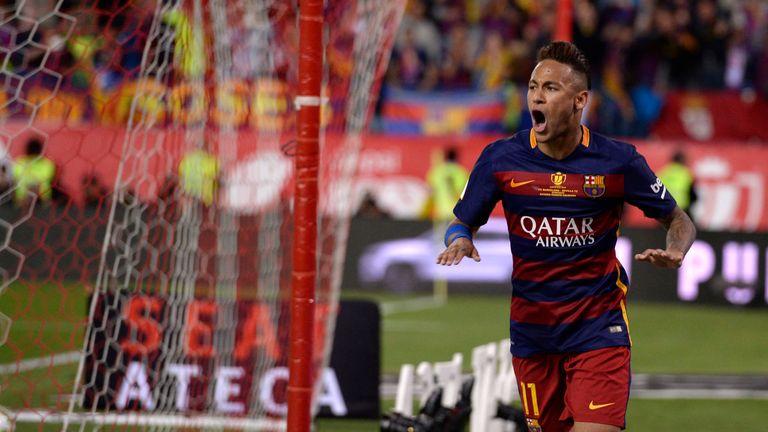 Barcelona forward Neymar celebrates