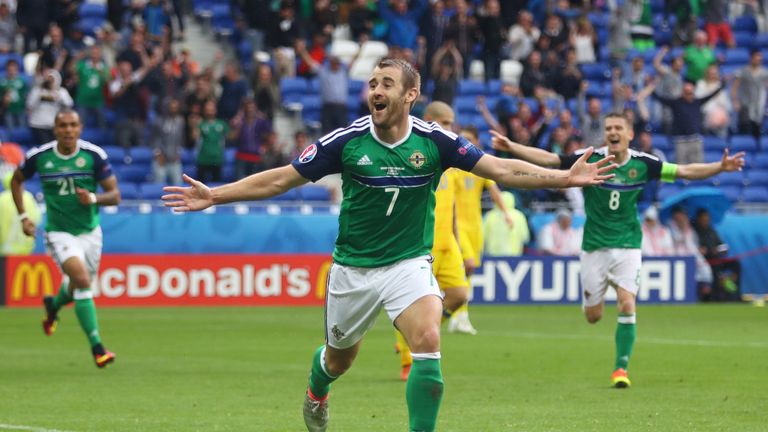 Niall McGinn of Northern Ireland celebrates