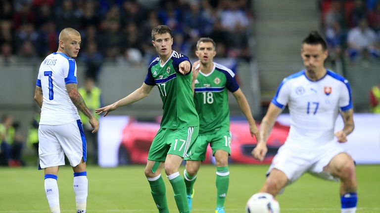 Northern Ireland's Patrick McNair during the International Friendly match at the Antona Malatinskeho Stadium, Trnava, Slovakia. PRESS ASSOCIATION Photo. Pi