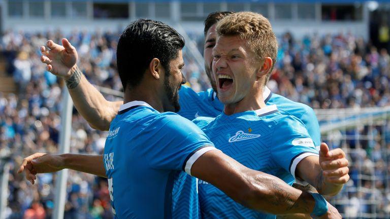 ST. PETERSBURG, RUSSIA - JULY 19: Hulk (L) of FC Zenit St. Petersburg celebrates his goal with Oleg Shatov (R) of FC Zenit St. Petersburg during the Russia