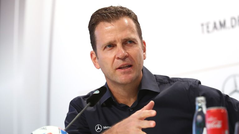 Oliver Bierhoff, team manager of the Germany, talks to the media during a Germany press conference at Euro 2016