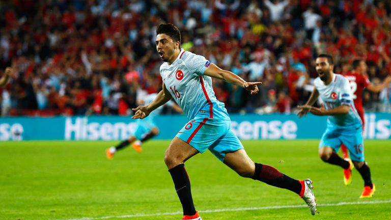 Ozan Tufan celebrates scoring Turkey's second goal against Czech Republic