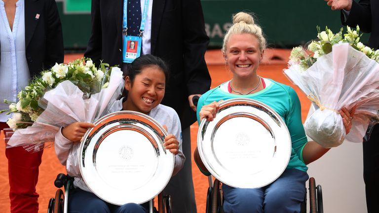 Champions Yui Kamiji and Jordanne Whiley celebrate in Paris