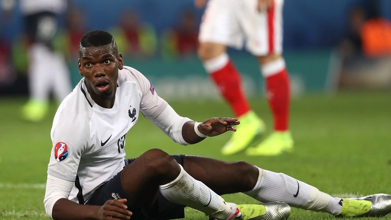 Paul Pogba of France reacts