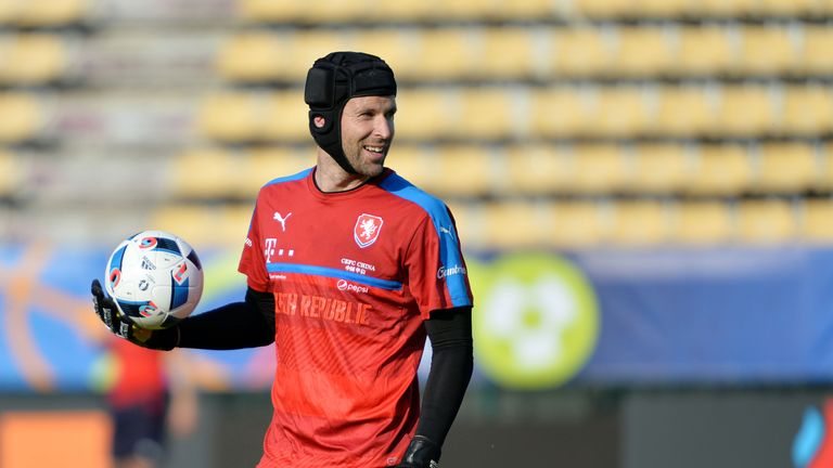 Czech Republic's goalkeeper Petr Cech holds a ball as he attends a training session at their training ground in Tours ahead of the Euro 2016 football tourn